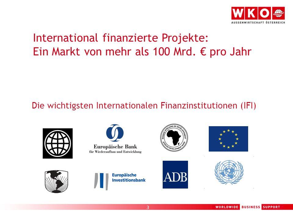 3 Die wichtigsten Internationalen Finanzinstitutionen (IFI) International finanzierte Projekte: Ein Markt von mehr als 100 Mrd. pro Jahr