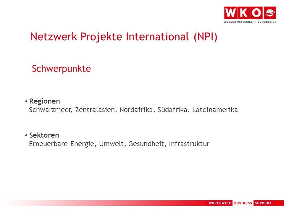 5 Netzwerk Projekte International (NPI) Schwerpunkte Regionen Schwarzmeer, Zentralasien, Nordafrika, Südafrika, Lateinamerika Sektoren Erneuerbare Ene
