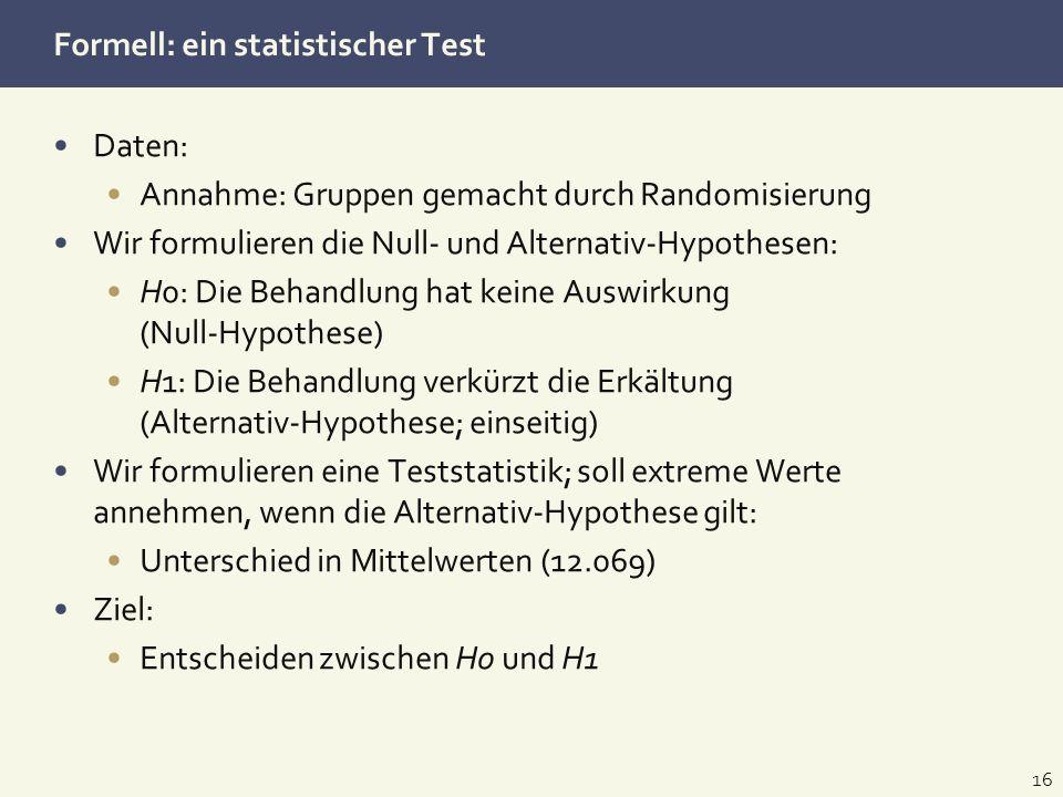 Formell: ein statistischer Test Daten: Annahme: Gruppen gemacht durch Randomisierung Wir formulieren die Null- und Alternativ-Hypothesen: H0: Die Beha