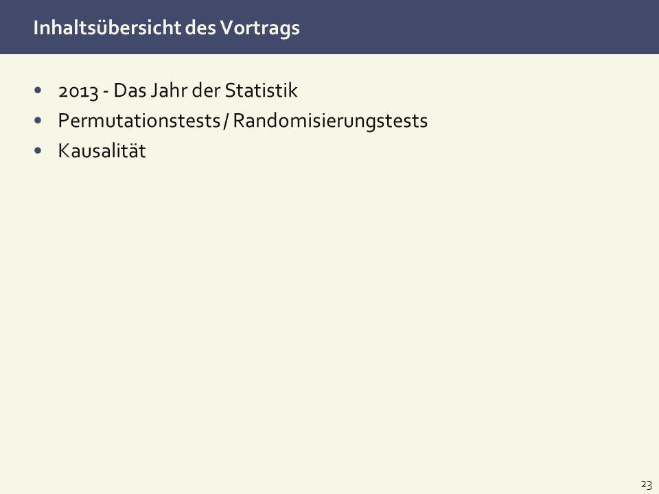 Inhaltsübersicht des Vortrags 2013 - Das Jahr der Statistik Permutationstests / Randomisierungstests Kausalität 23