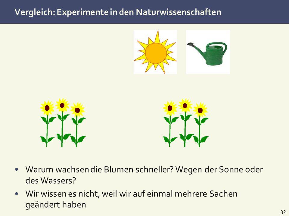 Vergleich: Experimente in den Naturwissenschaften 32 Warum wachsen die Blumen schneller? Wegen der Sonne oder des Wassers? Wir wissen es nicht, weil w