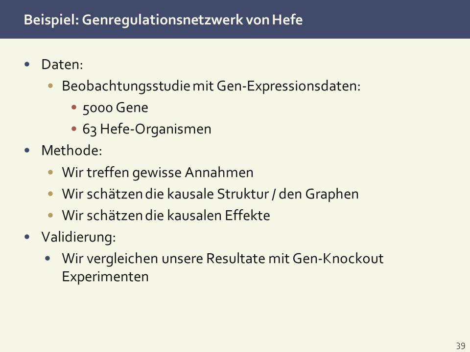Beispiel: Genregulationsnetzwerk von Hefe Daten: Beobachtungsstudie mit Gen-Expressionsdaten: 5000 Gene 63 Hefe-Organismen Methode: Wir treffen gewiss