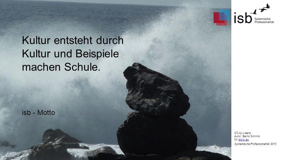 CC-by-Lizenz, Autor: Bernd Schmid für isb-w.euisb-w.eu Systemische Professionalität 2013 Kultur entsteht durch Kultur und Beispiele machen Schule. isb