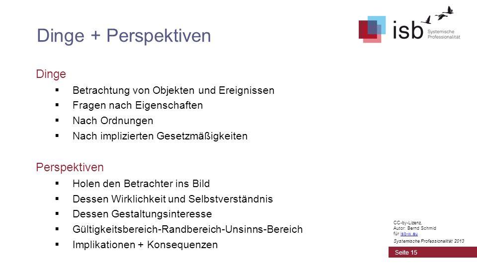 CC-by-Lizenz, Autor: Bernd Schmid für isb-w.euisb-w.eu Systemische Professionalität 2013 Dinge Betrachtung von Objekten und Ereignissen Fragen nach Ei