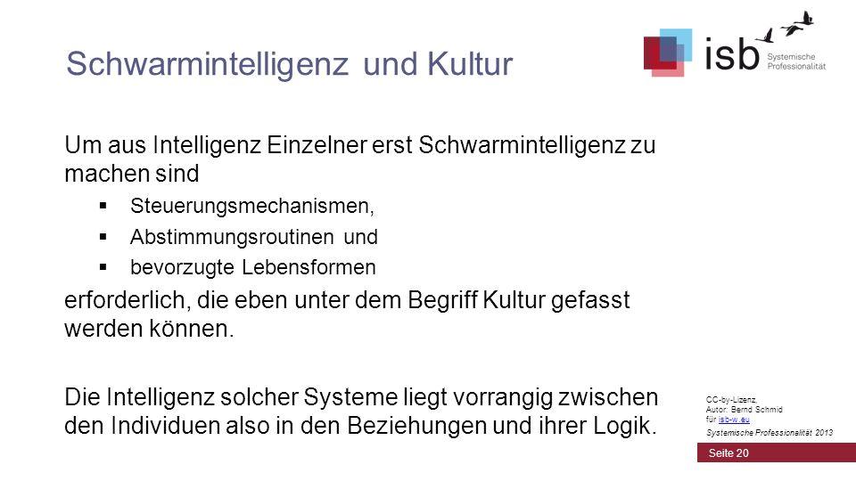 CC-by-Lizenz, Autor: Bernd Schmid für isb-w.euisb-w.eu Systemische Professionalität 2013 Um aus Intelligenz Einzelner erst Schwarmintelligenz zu mache
