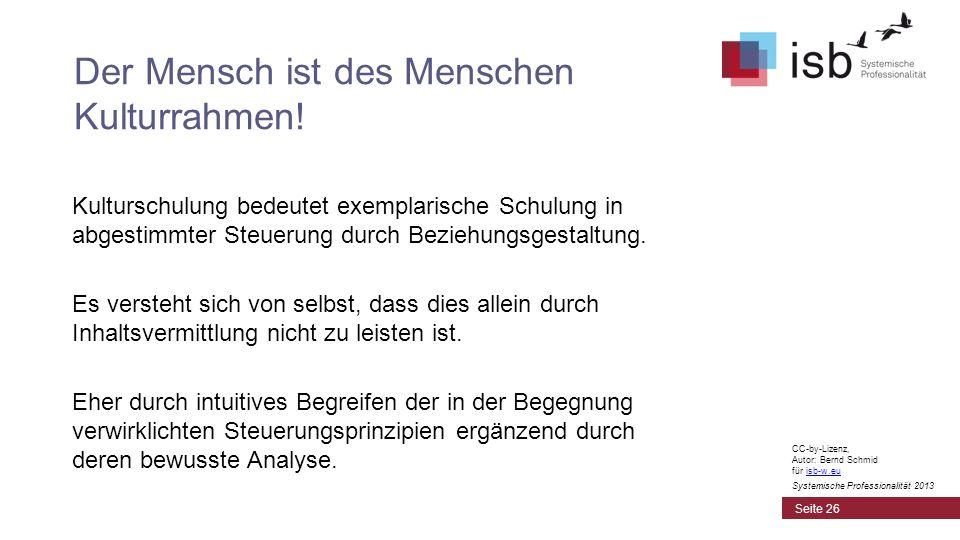 CC-by-Lizenz, Autor: Bernd Schmid für isb-w.euisb-w.eu Systemische Professionalität 2013 Kulturschulung bedeutet exemplarische Schulung in abgestimmte