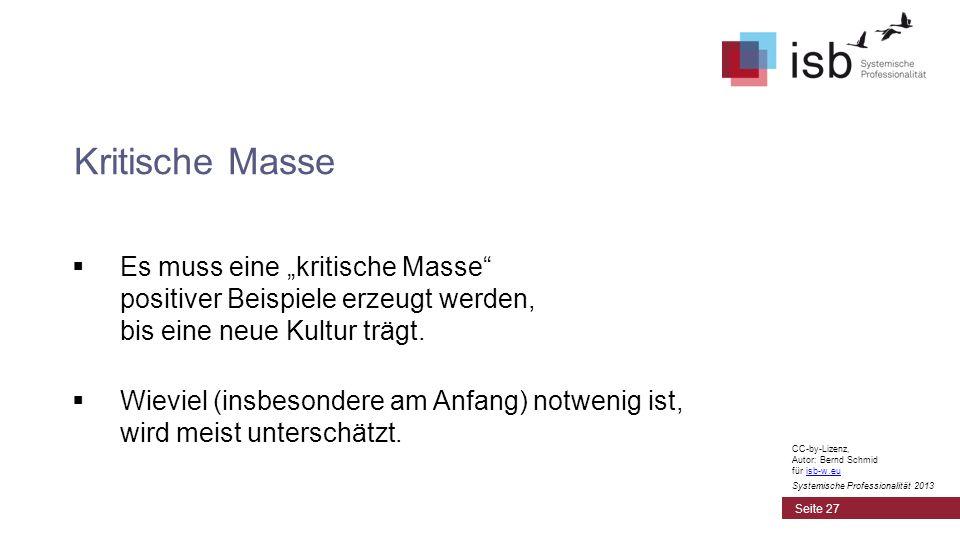 CC-by-Lizenz, Autor: Bernd Schmid für isb-w.euisb-w.eu Systemische Professionalität 2013 Es muss eine kritische Masse positiver Beispiele erzeugt werd
