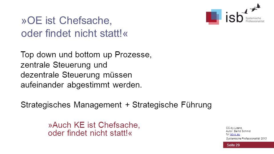 CC-by-Lizenz, Autor: Bernd Schmid für isb-w.euisb-w.eu Systemische Professionalität 2013 Top down und bottom up Prozesse, zentrale Steuerung und dezen