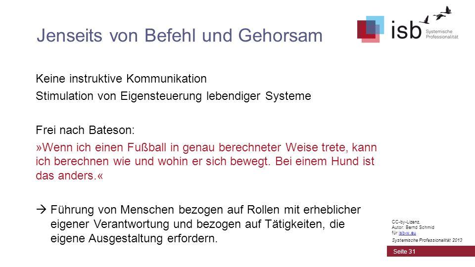 CC-by-Lizenz, Autor: Bernd Schmid für isb-w.euisb-w.eu Systemische Professionalität 2013 Keine instruktive Kommunikation Stimulation von Eigensteuerun