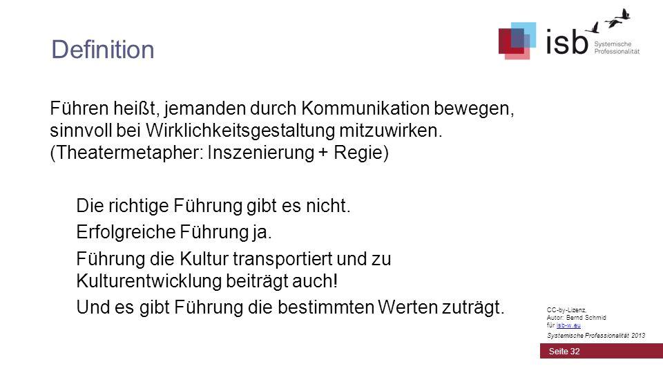CC-by-Lizenz, Autor: Bernd Schmid für isb-w.euisb-w.eu Systemische Professionalität 2013 Führen heißt, jemanden durch Kommunikation bewegen, sinnvoll
