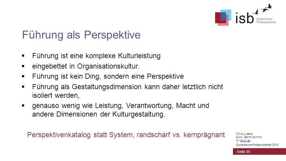 CC-by-Lizenz, Autor: Bernd Schmid für isb-w.euisb-w.eu Systemische Professionalität 2013 Führung ist eine komplexe Kulturleistung eingebettet in Organ