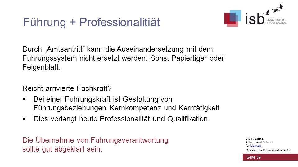 CC-by-Lizenz, Autor: Bernd Schmid für isb-w.euisb-w.eu Systemische Professionalität 2013 Durch Amtsantritt kann die Auseinandersetzung mit dem Führung