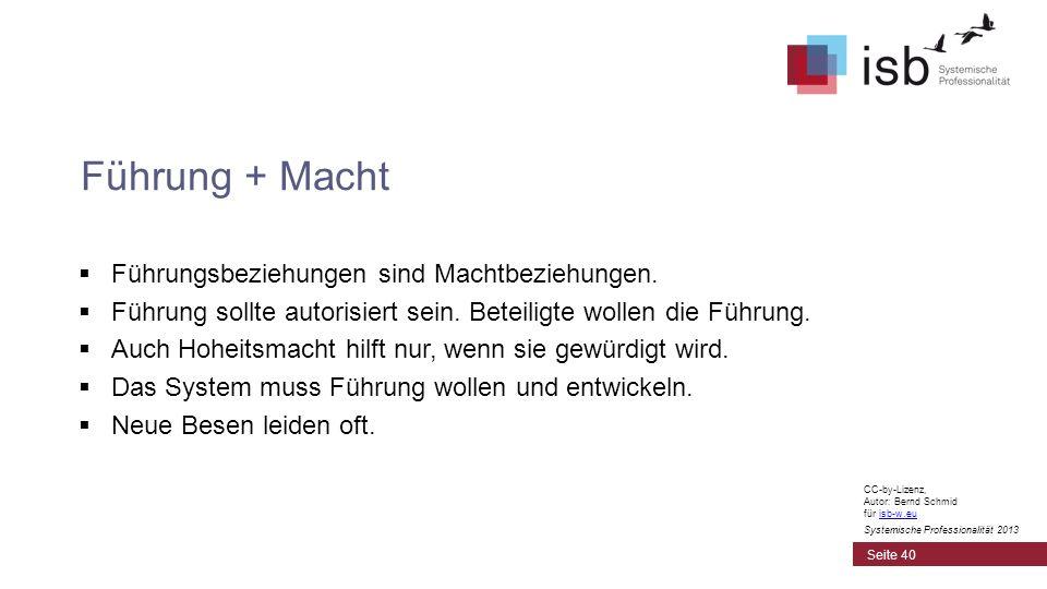 CC-by-Lizenz, Autor: Bernd Schmid für isb-w.euisb-w.eu Systemische Professionalität 2013 Führungsbeziehungen sind Machtbeziehungen. Führung sollte aut