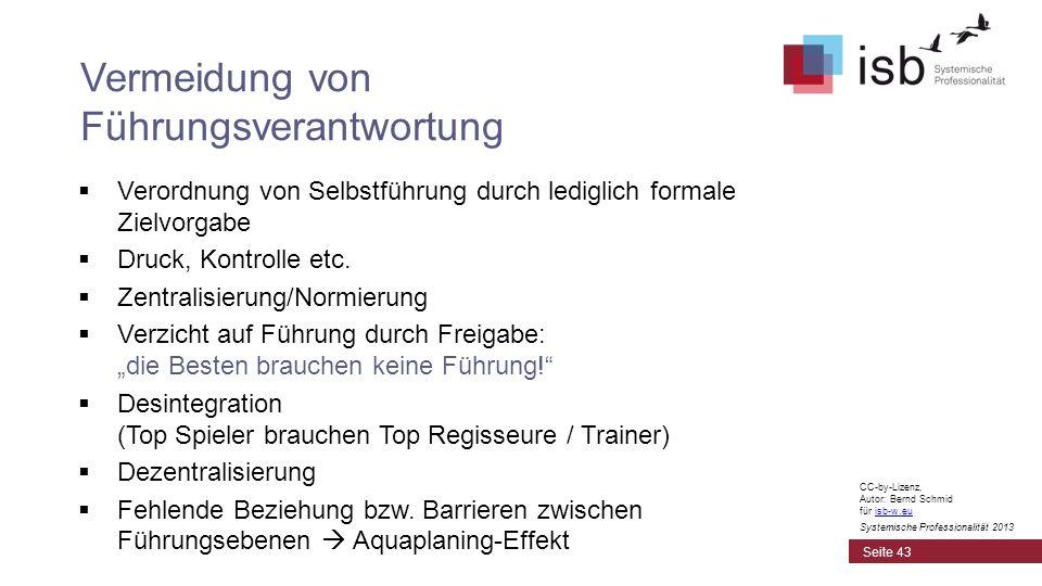 CC-by-Lizenz, Autor: Bernd Schmid für isb-w.euisb-w.eu Systemische Professionalität 2013 Verordnung von Selbstführung durch lediglich formale Zielvorg