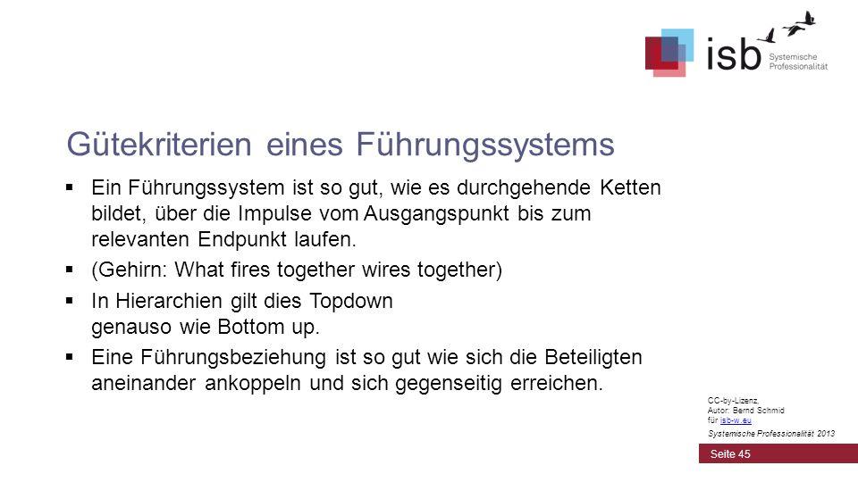 CC-by-Lizenz, Autor: Bernd Schmid für isb-w.euisb-w.eu Systemische Professionalität 2013 Ein Führungssystem ist so gut, wie es durchgehende Ketten bil