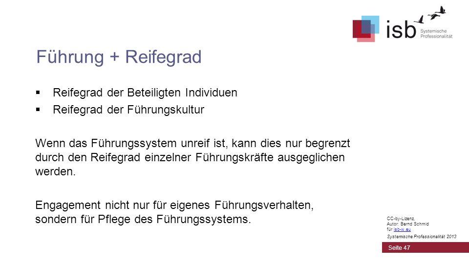 CC-by-Lizenz, Autor: Bernd Schmid für isb-w.euisb-w.eu Systemische Professionalität 2013 Reifegrad der Beteiligten Individuen Reifegrad der Führungsku