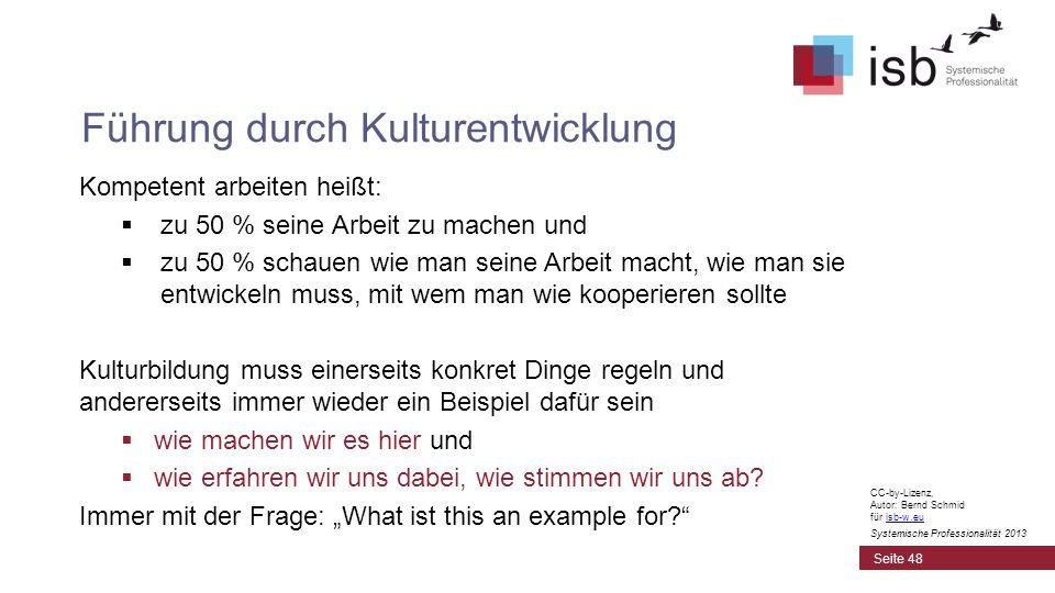 CC-by-Lizenz, Autor: Bernd Schmid für isb-w.euisb-w.eu Systemische Professionalität 2013 Kompetent arbeiten heißt: zu 50 % seine Arbeit zu machen und