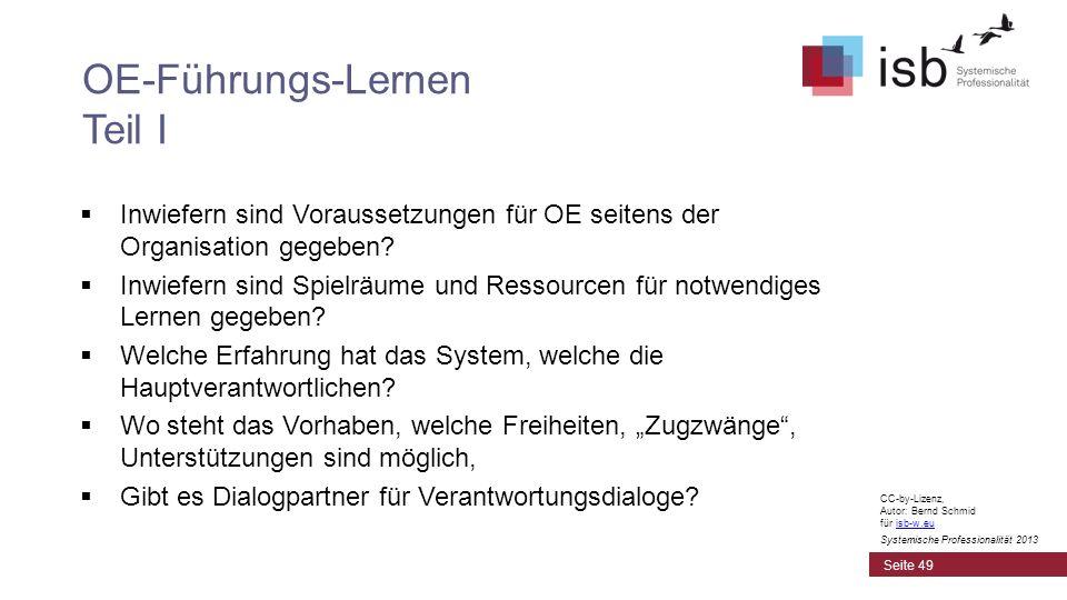 CC-by-Lizenz, Autor: Bernd Schmid für isb-w.euisb-w.eu Systemische Professionalität 2013 Inwiefern sind Voraussetzungen für OE seitens der Organisatio