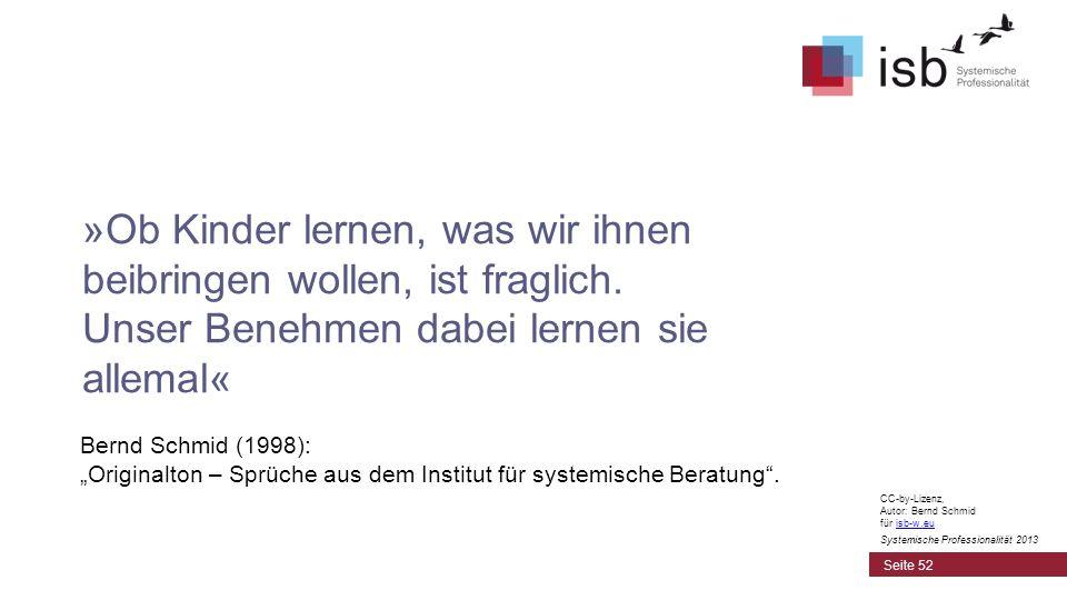CC-by-Lizenz, Autor: Bernd Schmid für isb-w.euisb-w.eu Systemische Professionalität 2013 Bernd Schmid (1998): Originalton – Sprüche aus dem Institut f