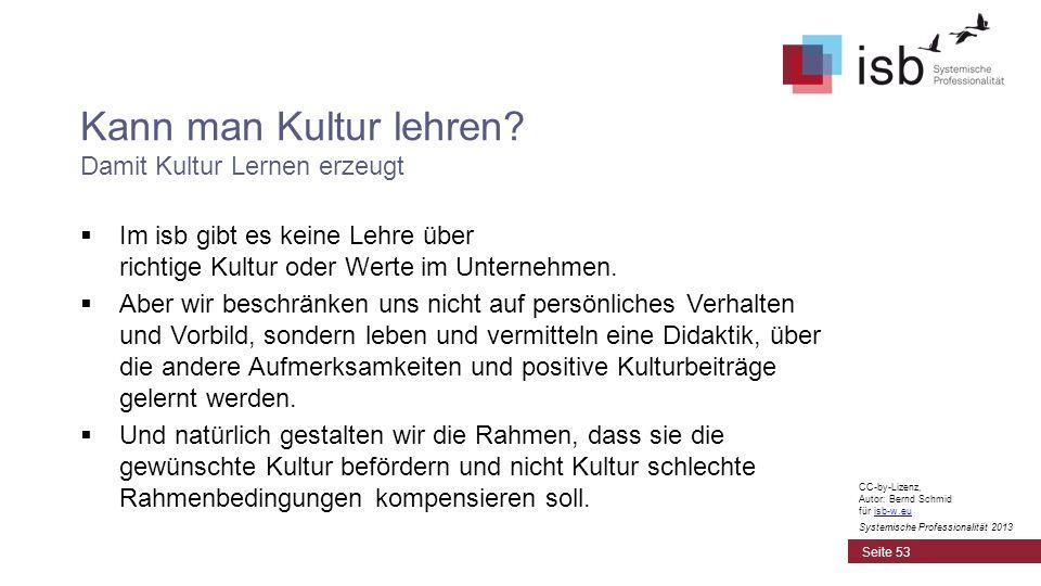 CC-by-Lizenz, Autor: Bernd Schmid für isb-w.euisb-w.eu Systemische Professionalität 2013 Kann man Kultur lehren? Damit Kultur Lernen erzeugt Im isb gi