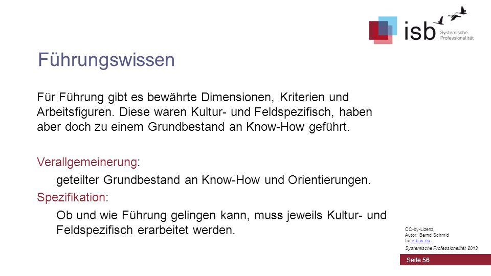 CC-by-Lizenz, Autor: Bernd Schmid für isb-w.euisb-w.eu Systemische Professionalität 2013 Für Führung gibt es bewährte Dimensionen, Kriterien und Arbei