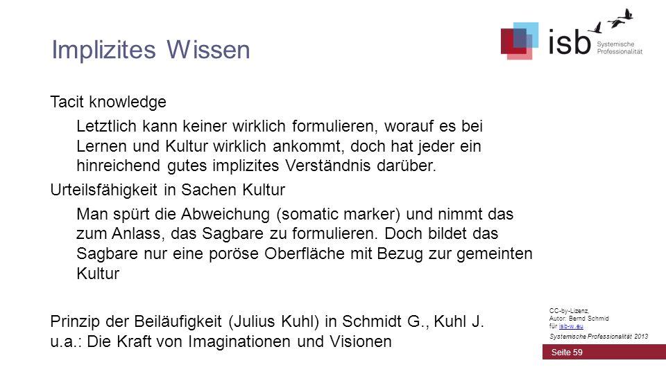 CC-by-Lizenz, Autor: Bernd Schmid für isb-w.euisb-w.eu Systemische Professionalität 2013 Tacit knowledge Letztlich kann keiner wirklich formulieren, w
