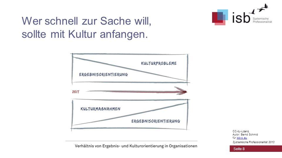 CC-by-Lizenz, Autor: Bernd Schmid für isb-w.euisb-w.eu Systemische Professionalität 2013 Wer schnell zur Sache will, sollte mit Kultur anfangen. Seite