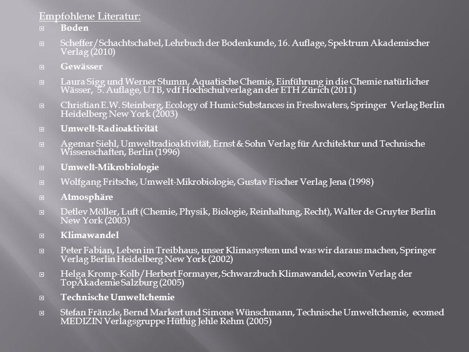 Empfohlene Literatur: Boden Scheffer/Schachtschabel, Lehrbuch der Bodenkunde, 16. Auflage, Spektrum Akademischer Verlag (2010) Gewässer Laura Sigg und