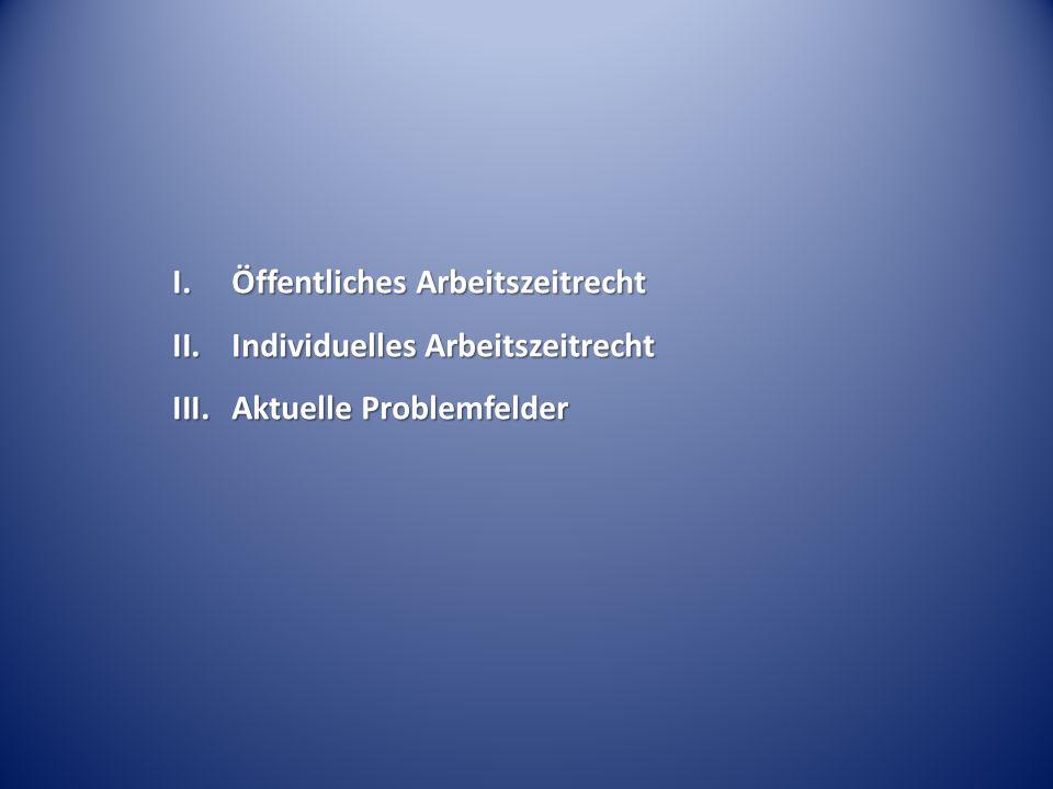 I.Öffentliches Arbeitszeitrecht II.Individuelles Arbeitszeitrecht III.Aktuelle Problemfelder