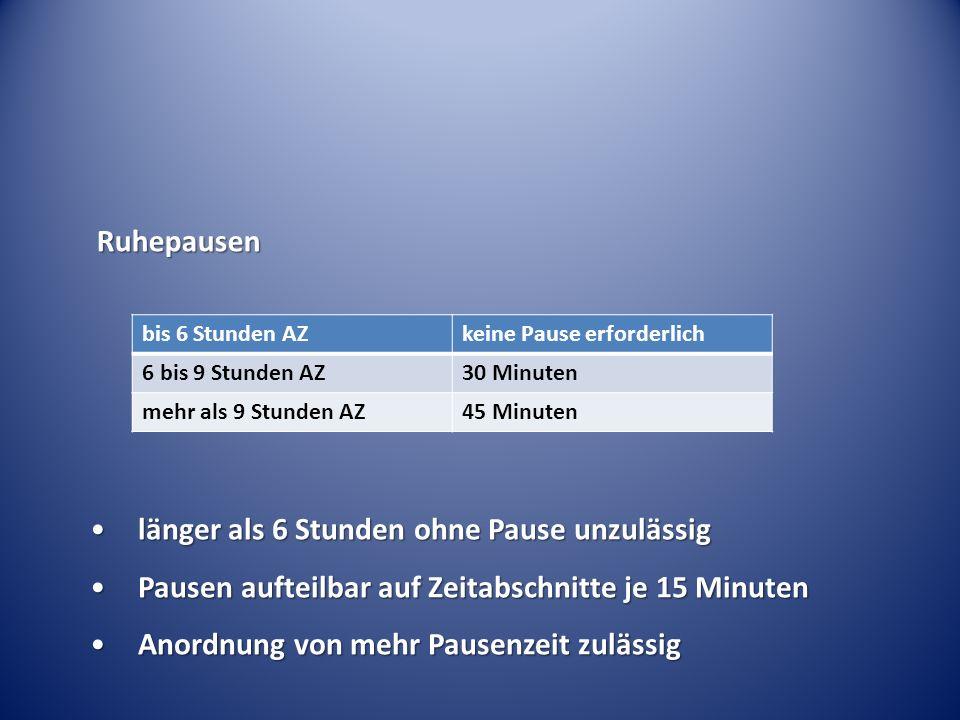 Ruhepausen bis 6 Stunden AZkeine Pause erforderlich 6 bis 9 Stunden AZ30 Minuten mehr als 9 Stunden AZ45 Minuten länger als 6 Stunden ohne Pause unzul