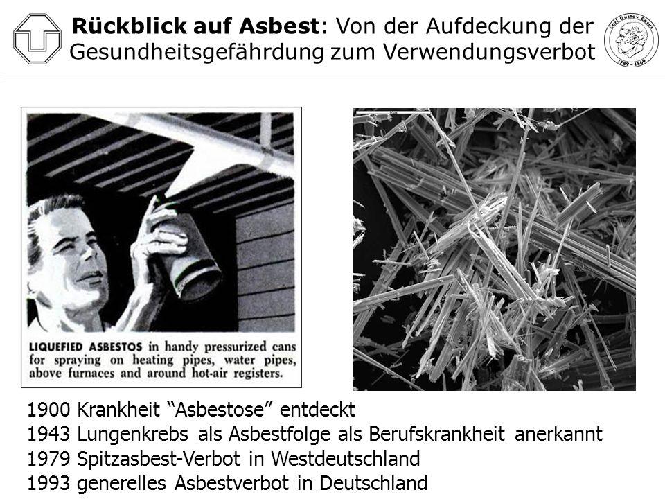Gegenwart (und Zukunft?) Asbest: Zahl der Berufskrankheiten-Todesfälle Entschiedene BK-Fälle 201069.168 Anerkannte BK15.461 darunter: neue BK-Renten6.123 BK-Todesfälle 20102.486 1.597 (2005) 1.170 (2003) 1.425 (2007) 1.292 (2010) Quellen: http://www.dguv.de/inhalt/zahlen/documents/DGUV-Statistiken-2009-deutsch.pdfhttp://www.dguv.de/inhalt/zahlen/documents/DGUV-Statistiken-2009-deutsch.pdf http://www.dguv.de/inhalt/zahlen/bk/bktodefaelle/index.jsp 1.371 (2009)