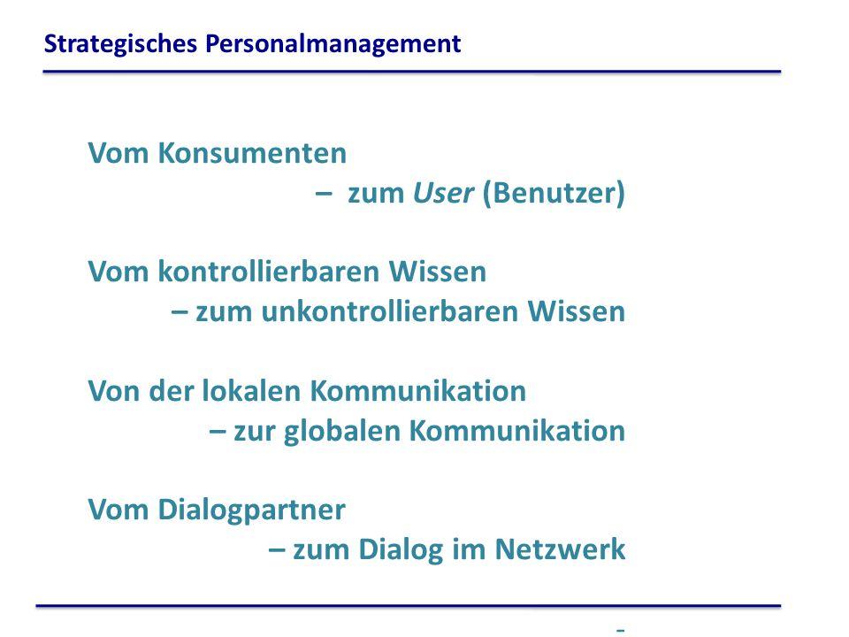 Vom Konsumenten – zum User (Benutzer) Vom kontrollierbaren Wissen – zum unkontrollierbaren Wissen Von der lokalen Kommunikation – zur globalen Kommuni