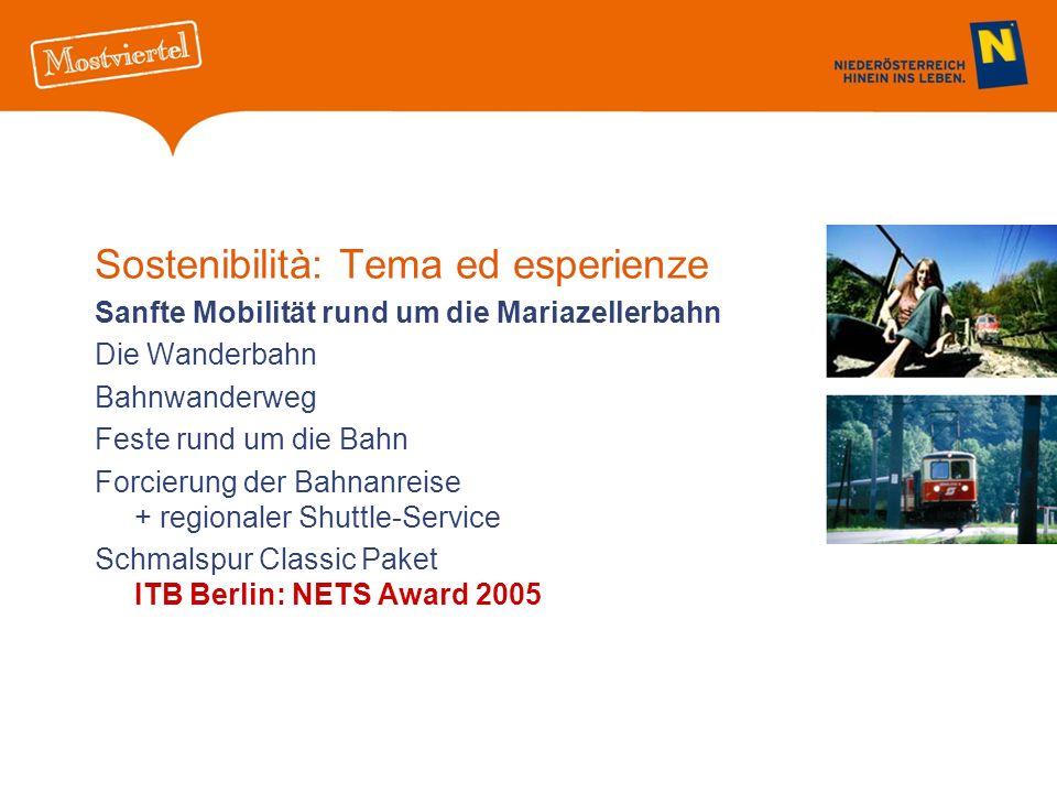 Sostenibilità: Tema ed esperienze Sanfte Mobilität rund um die Mariazellerbahn Die Wanderbahn Bahnwanderweg Feste rund um die Bahn Forcierung der Bahnanreise + regionaler Shuttle-Service Schmalspur Classic Paket ITB Berlin: NETS Award 2005