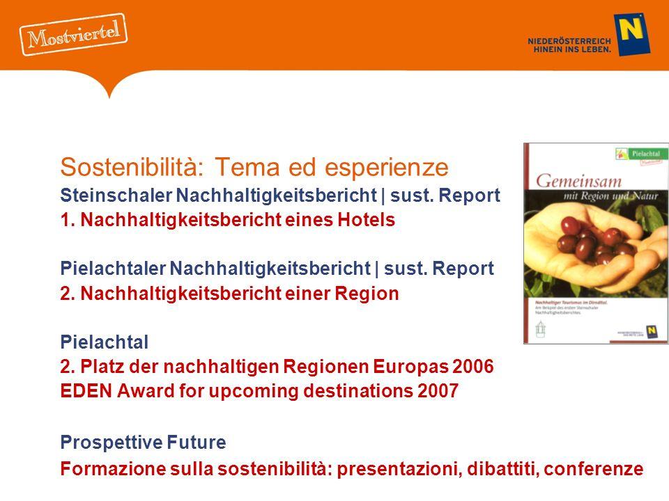 Sostenibilità: Tema ed esperienze Steinschaler Nachhaltigkeitsbericht | sust. Report 1. Nachhaltigkeitsbericht eines Hotels Pielachtaler Nachhaltigkei