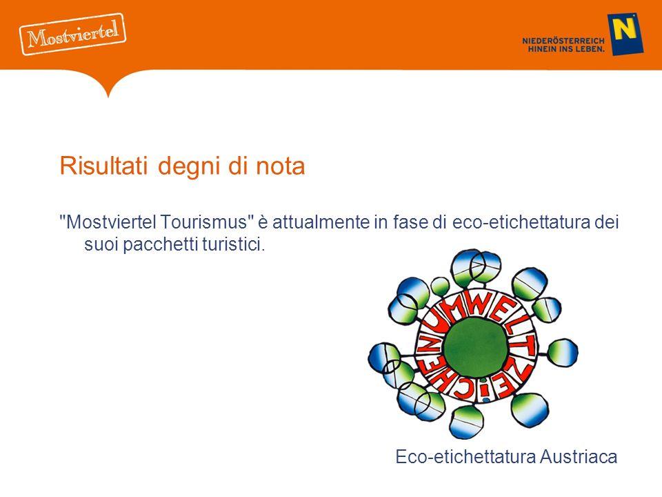 Risultati degni di nota Mostviertel Tourismus è attualmente in fase di eco-etichettatura dei suoi pacchetti turistici.
