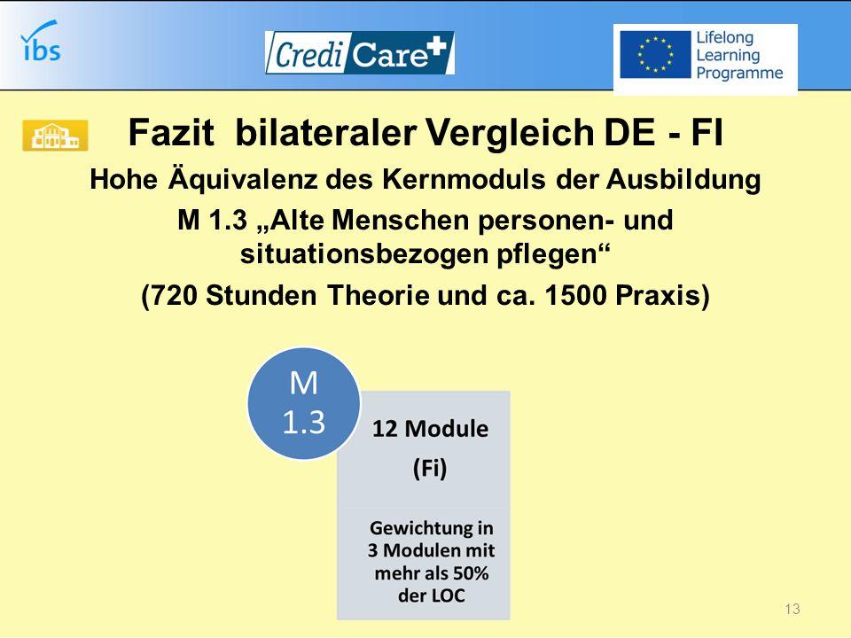 Fazit bilateraler Vergleich DE - FI Hohe Äquivalenz des Kernmoduls der Ausbildung M 1.3 Alte Menschen personen- und situationsbezogen pflegen (720 Stunden Theorie und ca.
