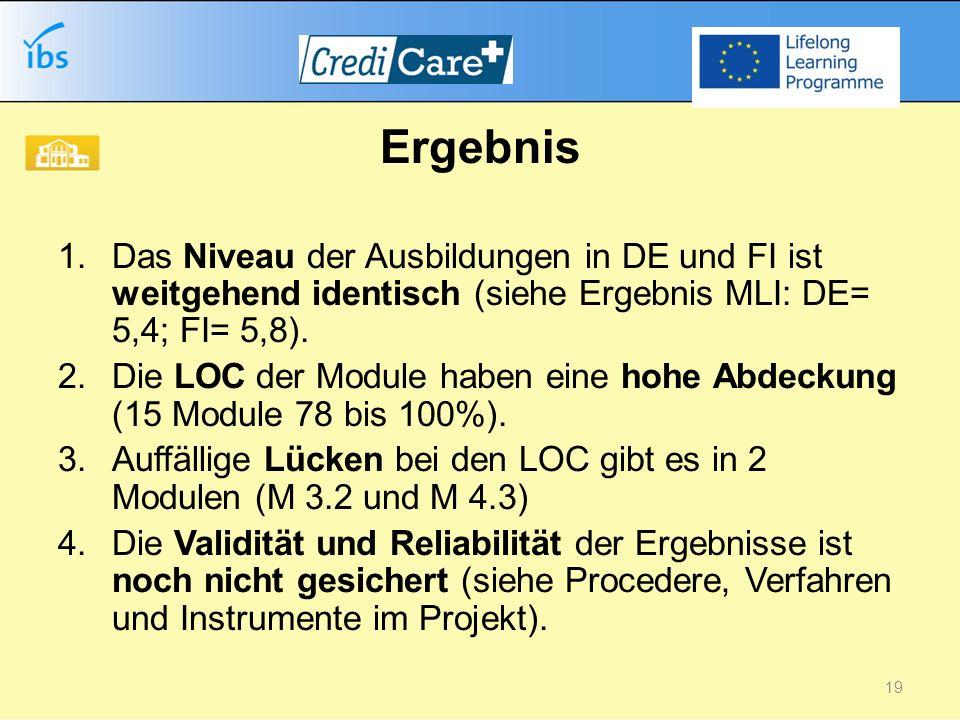 Ergebnis 1.Das Niveau der Ausbildungen in DE und FI ist weitgehend identisch (siehe Ergebnis MLI: DE= 5,4; FI= 5,8).