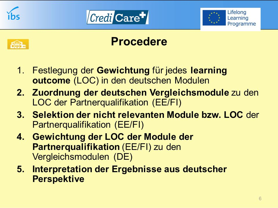 Procedere 1.Festlegung der Gewichtung für jedes learning outcome (LOC) in den deutschen Modulen 2.Zuordnung der deutschen Vergleichsmodule zu den LOC der Partnerqualifikation (EE/FI) 3.Selektion der nicht relevanten Module bzw.