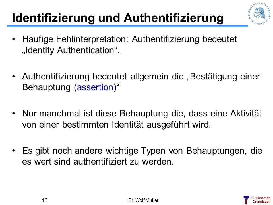 IT-Sicherheit Grundlagen Dr. Wolf Müller 10 Identifizierung und Authentifizierung Häufige Fehlinterpretation: Authentifizierung bedeutet Identity Auth