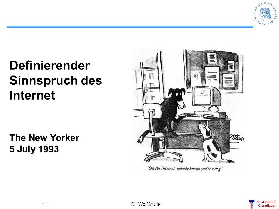 IT-Sicherheit Grundlagen Dr. Wolf Müller 11 Definierender Sinnspruch des Internet The New Yorker 5 July 1993
