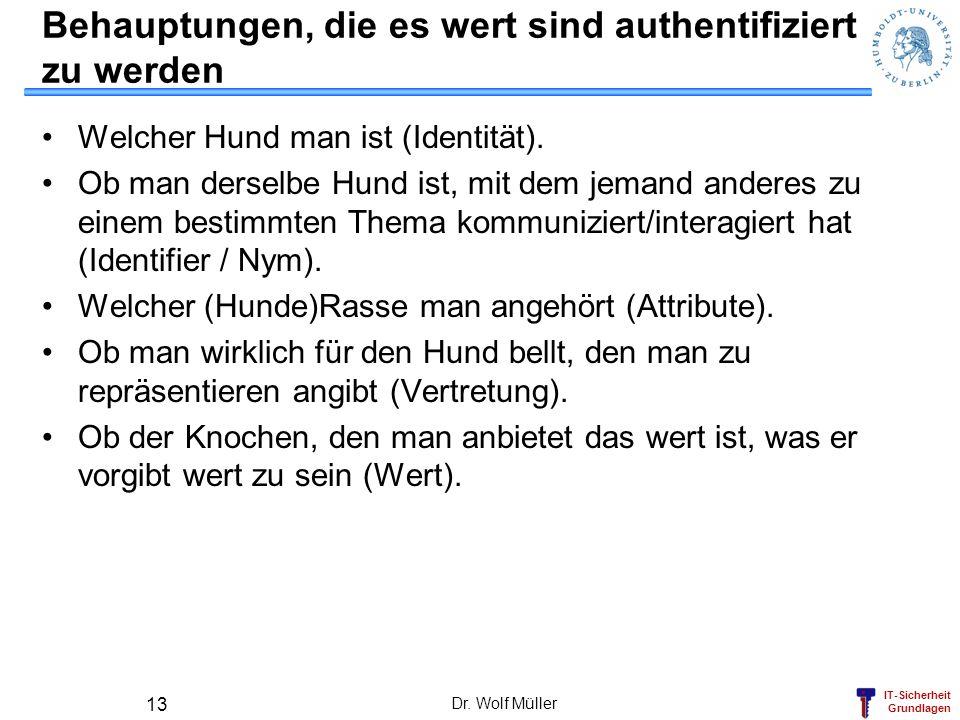 IT-Sicherheit Grundlagen Dr. Wolf Müller 13 Behauptungen, die es wert sind authentifiziert zu werden Welcher Hund man ist (Identität). Ob man derselbe