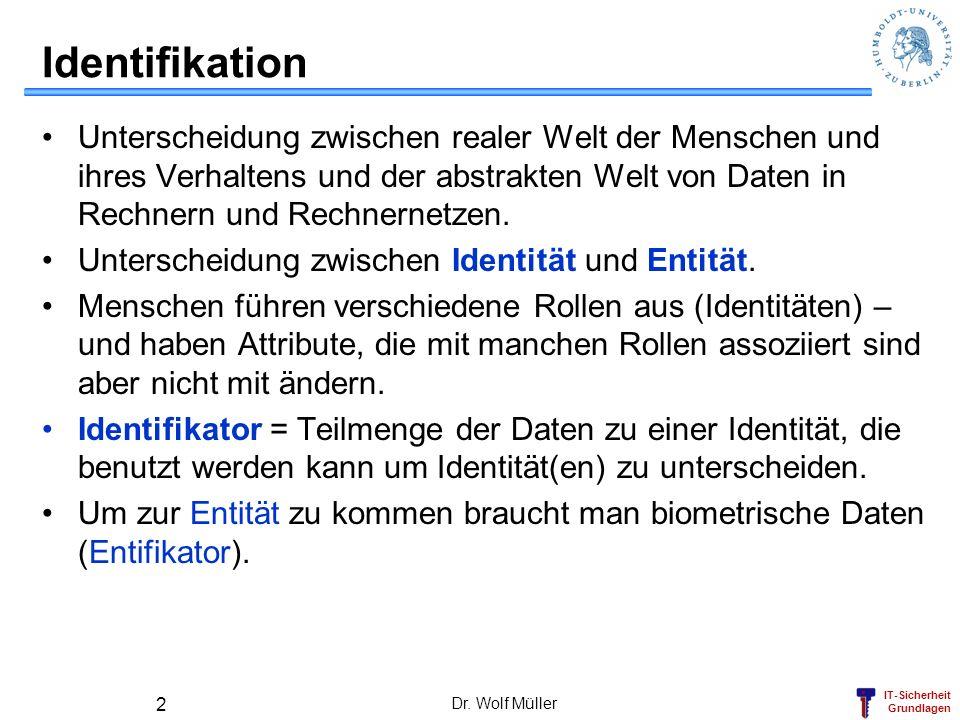 IT-Sicherheit Grundlagen Dr. Wolf Müller 2 Identifikation Unterscheidung zwischen realer Welt der Menschen und ihres Verhaltens und der abstrakten Wel