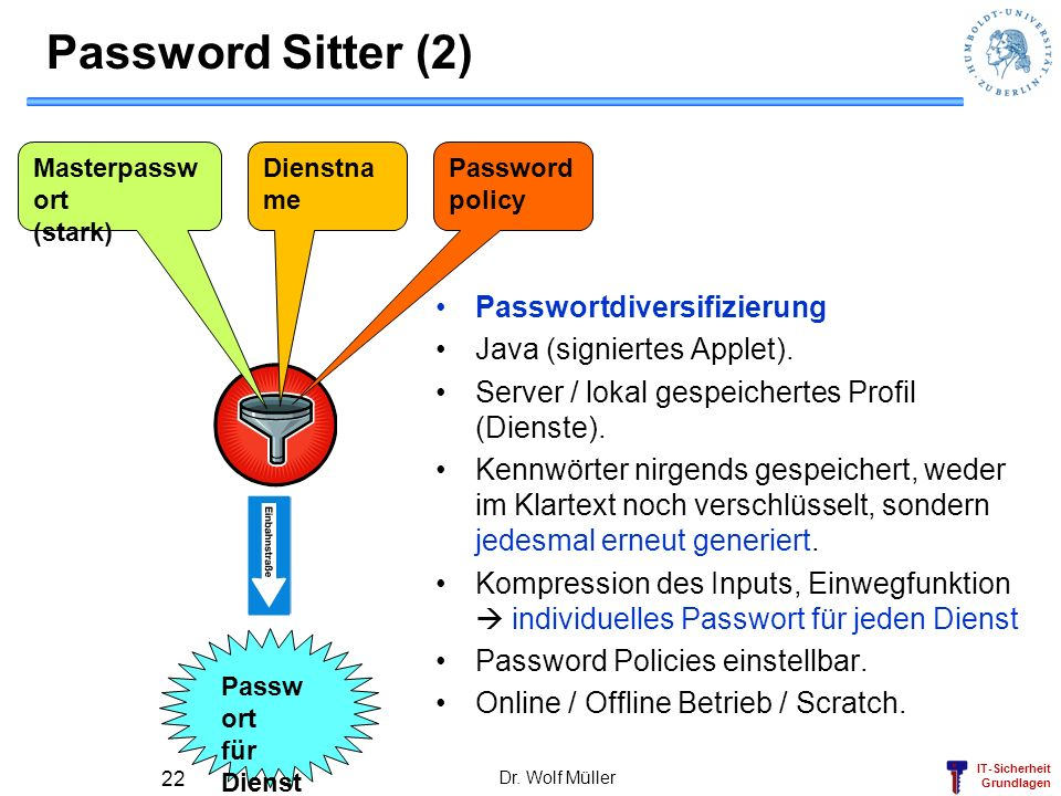 IT-Sicherheit Grundlagen Password Sitter (2) Passwortdiversifizierung Java (signiertes Applet). Server / lokal gespeichertes Profil (Dienste). Kennwör