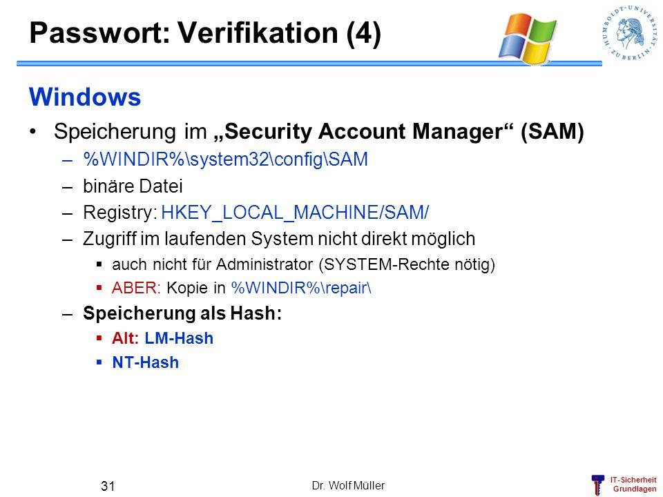 IT-Sicherheit Grundlagen Passwort: Verifikation (4) Windows Speicherung im Security Account Manager (SAM) –%WINDIR%\system32\config\SAM –binäre Datei