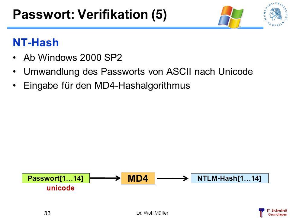 IT-Sicherheit Grundlagen Passwort[1…14]NTLM-Hash[1…14] Passwort: Verifikation (5) NT-Hash Ab Windows 2000 SP2 Umwandlung des Passworts von ASCII nach