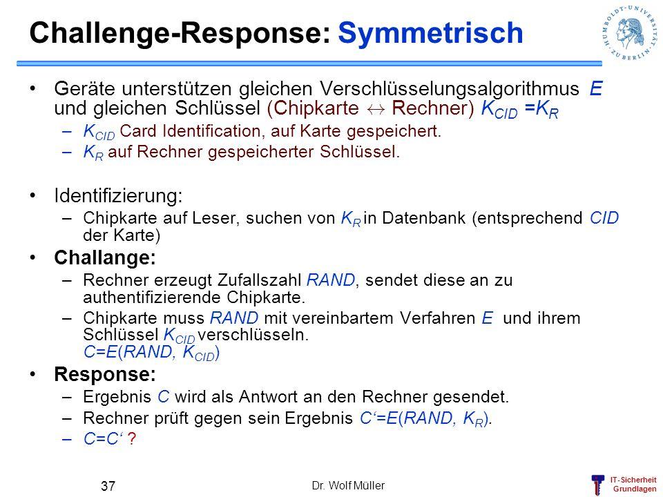 IT-Sicherheit Grundlagen Challenge-Response: Symmetrisch Geräte unterstützen gleichen Verschlüsselungsalgorithmus E und gleichen Schlüssel (Chipkarte