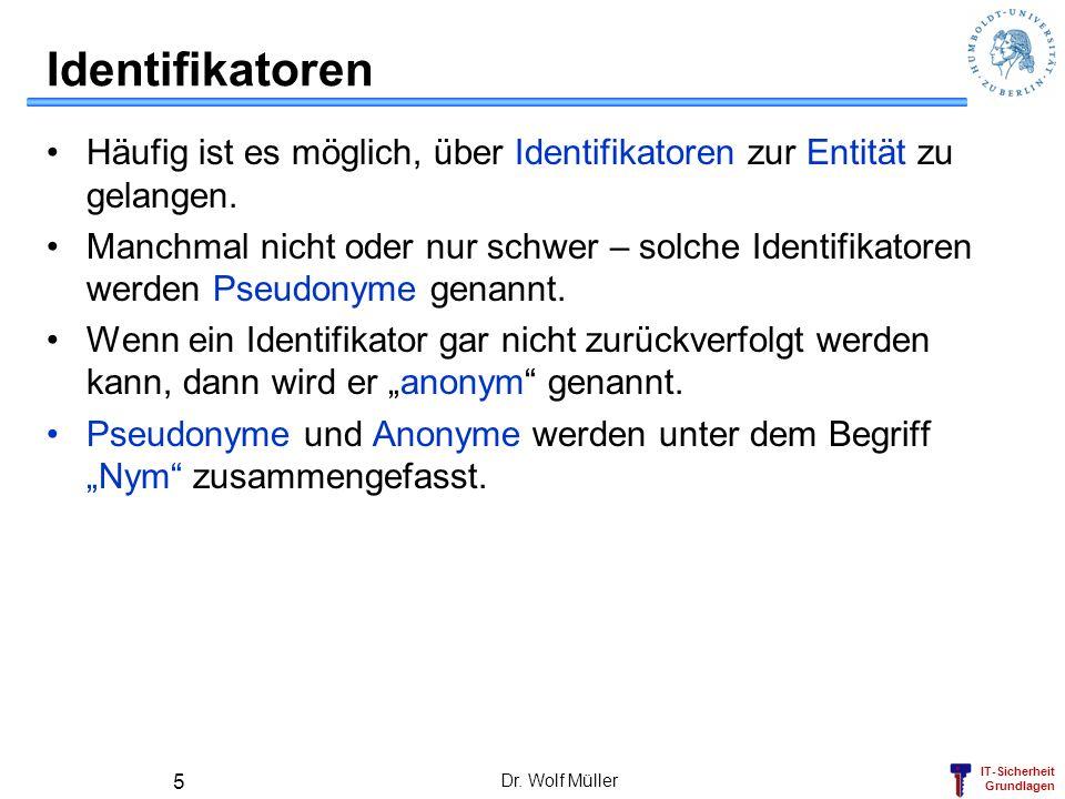 IT-Sicherheit Grundlagen Dr. Wolf Müller 5 Identifikatoren Häufig ist es möglich, über Identifikatoren zur Entität zu gelangen. Manchmal nicht oder nu