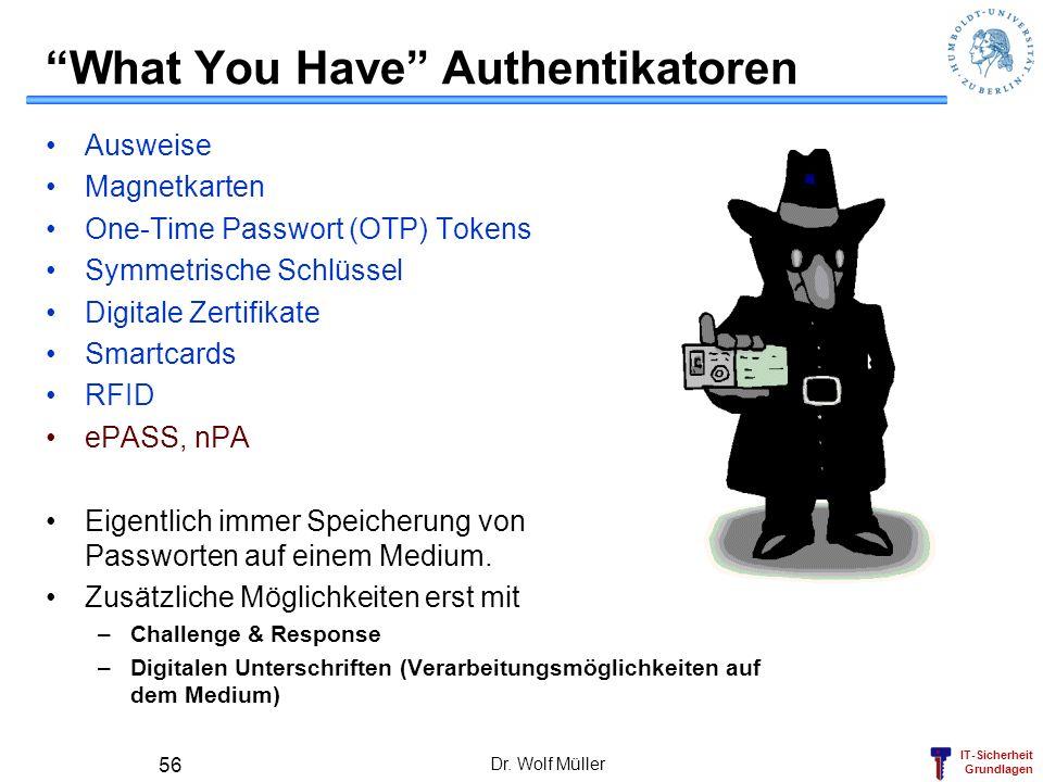 IT-Sicherheit Grundlagen Dr. Wolf Müller 56 What You Have Authentikatoren Ausweise Magnetkarten One-Time Passwort (OTP) Tokens Symmetrische Schlüssel