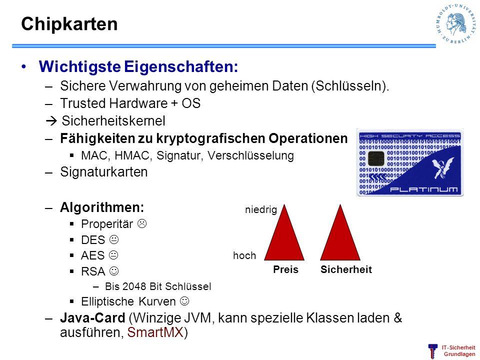 IT-Sicherheit Grundlagen Chipkarten Wichtigste Eigenschaften: –Sichere Verwahrung von geheimen Daten (Schlüsseln). –Trusted Hardware + OS Sicherheitsk