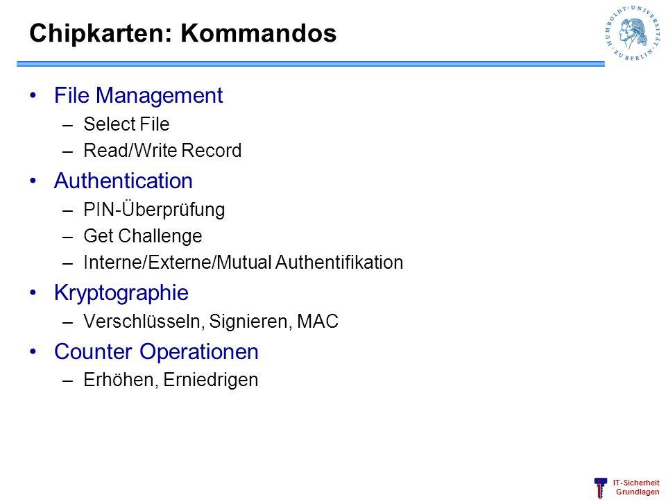 IT-Sicherheit Grundlagen Chipkarten: Kommandos File Management –Select File –Read/Write Record Authentication –PIN-Überprüfung –Get Challenge –Interne